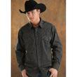 Satin Dobby Stripe Shirt (30S3162-01-Black) - Mens Western Shirt